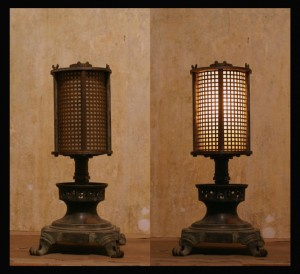 steampunk lamp - pump and gasoline
