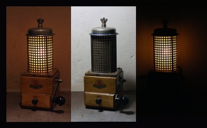 steampunk lamp coffee grinder